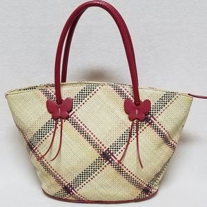 Etienne Aigner Paper Straw Red Butterfly Purse